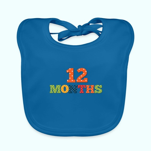 Twelve 12 months old baby print photography prop - Baby Organic Bib