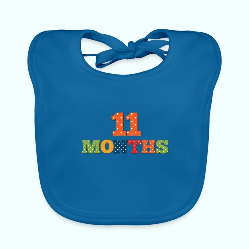 Eleven 11 months old baby age print photo prop - Baby Organic Bib