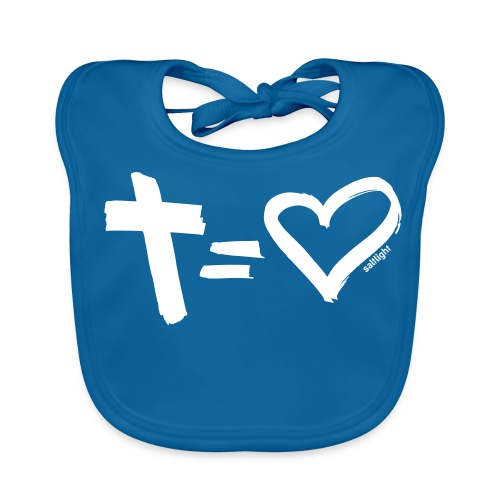 Cross = Heart WHITE // Cross = Love WHITE - Baby Organic Bib
