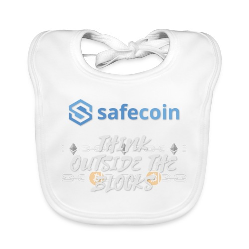 SafeCoin; Think Outside the Blocks (blue + white) - Baby Organic Bib