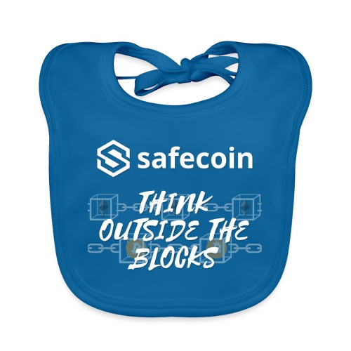Safecoin Think Outside the Blocks (white) - Organic Baby Bibs