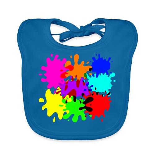 bunte Farbkleckse Paintballflecken - Baby Bio-Lätzchen