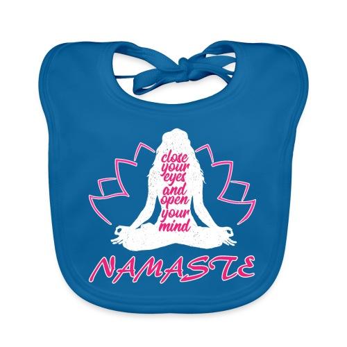 chiudi gli occhi namaste yoga pace amore sport arte - Bavaglino ecologico per neonato