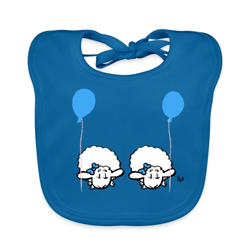Baby lam tvillinger med ballon (blå og blå) - Hagesmække af økologisk bomuld