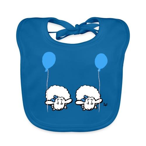 Baby Lamb Twins med ballong (blå & blå) - Ekologisk babyhaklapp