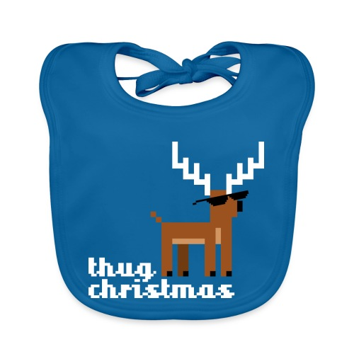 Christmas Xmas Deer Pixel Funny - Organic Baby Bibs
