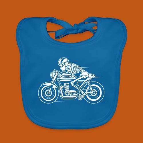 Cafe Racer Motorrad 05_weiß - Baby Bio-Lätzchen