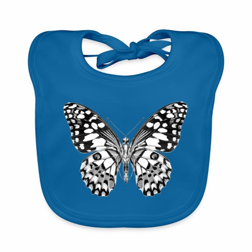 08 Schmetterling schwarz weiss schwarzweiß - Baby Bio-Lätzchen