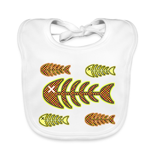 dead fishes - legs in orange and yellow - Baby Organic Bib