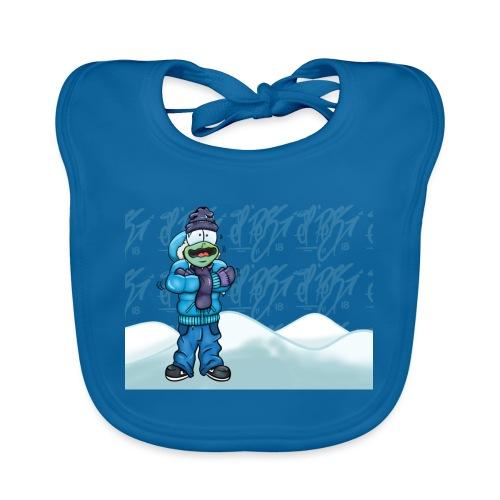 Freezing Turtle Snowboarder/Frierender Snowboarder - Baby Bio-Lätzchen