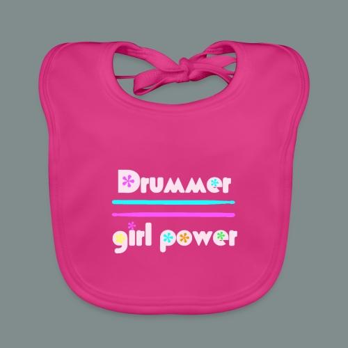 Drummer girlpower rose - idee cadeau batteur - Bavoir bio Bébé