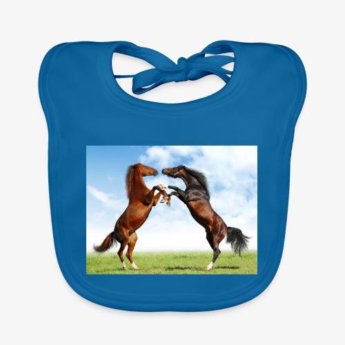kaksi hevosta - Vauvan luomuruokalappu