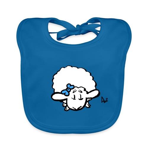 Corderito (azul) - Babero de algodón orgánico para bebés