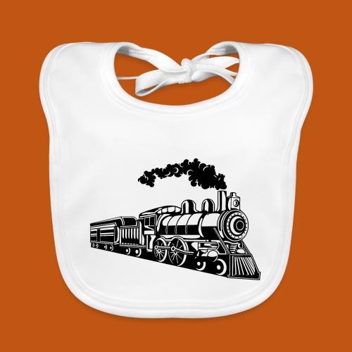 Lokomotive / Locomotive 02_schwarz weiß - Baby Bio-Lätzchen