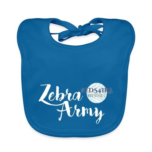 Zebra Army (white) - Baby Organic Bib