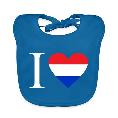 Ik hou van Nederland | Hart met rood wit blauw - Bio-slabbetje voor baby's