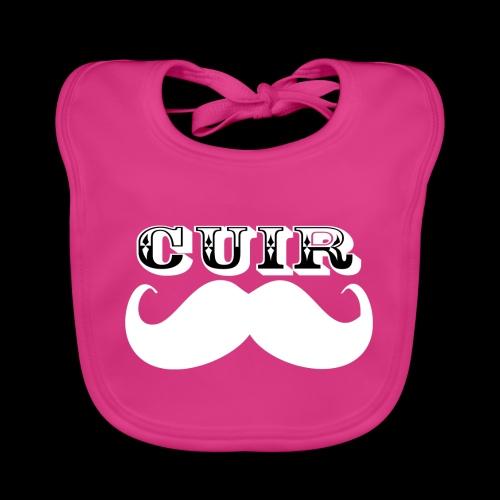 Cuir Moustache - Logo Blanc - Baby Organic Bib