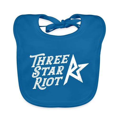 Three Star Riot logo vaalea - Vauvan luomuruokalappu