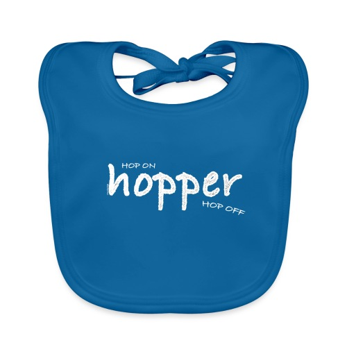 Hoppers Hop On and Off (white) - Babero de algodón orgánico para bebés
