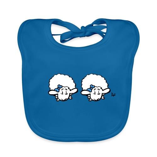 Baby Lamb Twins (blå & blå) - Ekologisk babyhaklapp