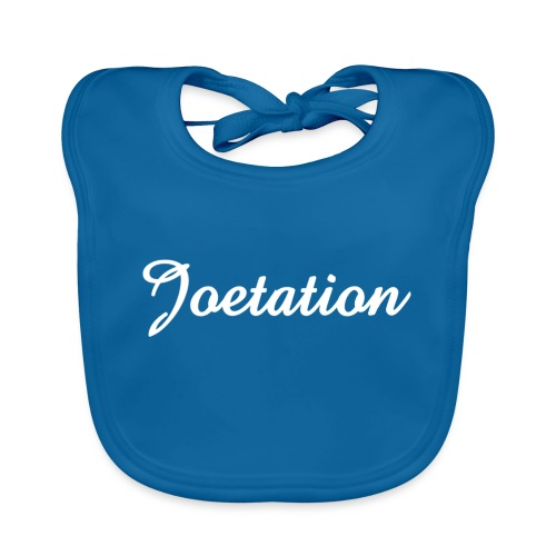 White Text Joetation Signature Brand - Organic Baby Bibs