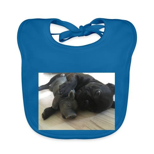 kuschelnder Hund - Baby Bio-Lätzchen