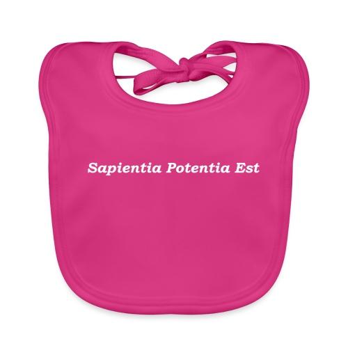 Sapientia Potentia Est - White Text - Baby Organic Bib