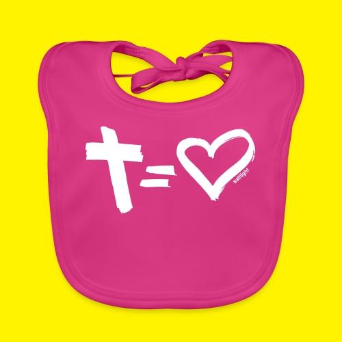 Cross = Heart WHITE // Cross = Love WHITE - Organic Baby Bibs