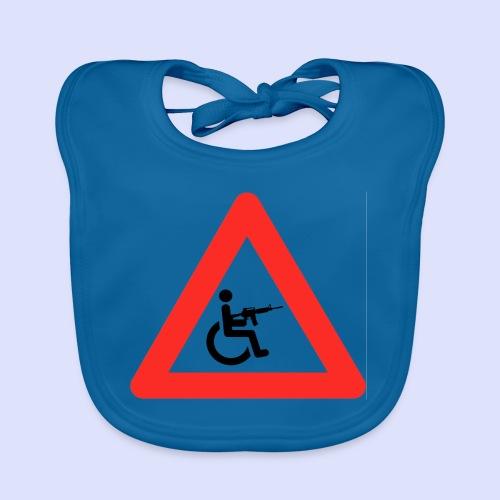 Pas op rolstoel gebruiker met wapen 003 - Bio-slabbetje voor baby's
