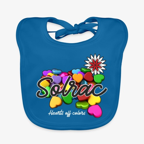 SOLRAC Hearts black - Babero de algodón orgánico para bebés