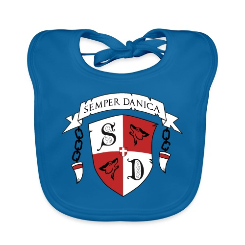 SD logo - sorte lænker - Hagesmække af økologisk bomuld