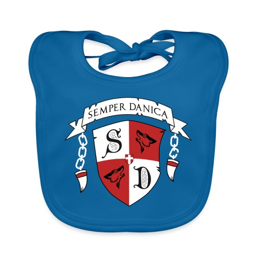 SD logo - hvide lænker - Hagesmække af økologisk bomuld