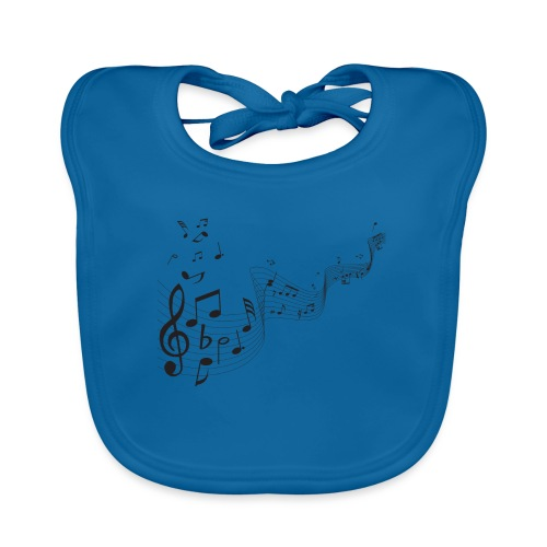 Notas musicales - Babero de algodón orgánico para bebés