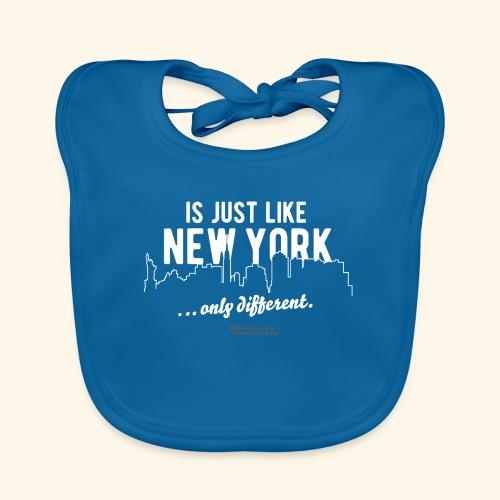 T-Shirt < DEINE STADT > ist genau wie New York - Baby Bio-Lätzchen
