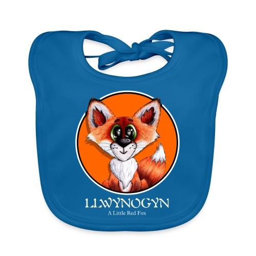llwynogyn - a little red fox (white) - Baby Bio-Lätzchen