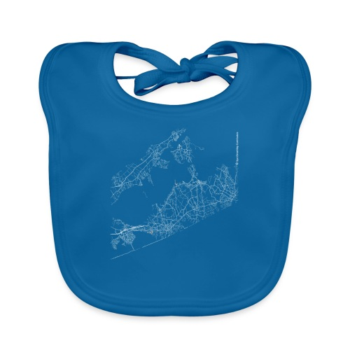 Minimal The Hamptons city map and streets - Baby Organic Bib