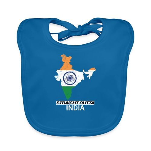 Straight Outta India (Bharat) country map flag - Organic Baby Bibs