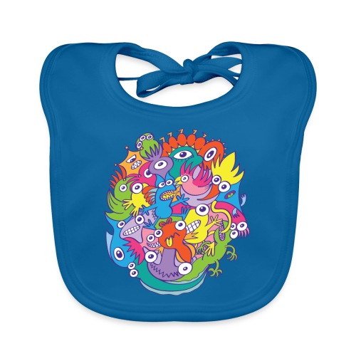 Crazy parade of ugly, funny and colorful monsters - Organic Baby Bibs