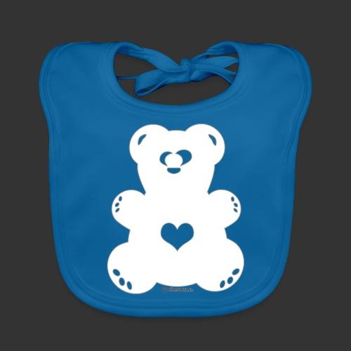 Bärenlust - schielender Bär in weiß (Farbe 1) - Baby Bio-Lätzchen