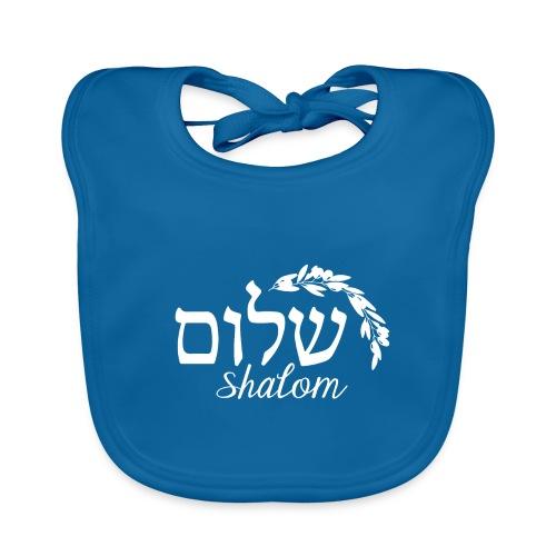 Weißer Shalom-Schriftzug mit Ölzweig - Baby Bio-Lätzchen