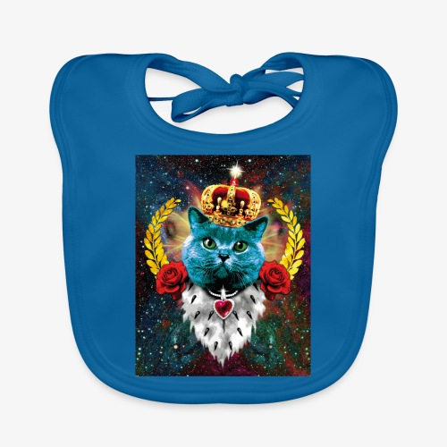 01 Blue Cat King Katze Queen Rosen - Baby Bio-Lätzchen