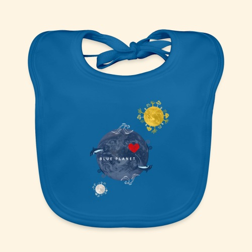 Blue Planet with Sun and Moon - Bio-slabbetje voor baby's