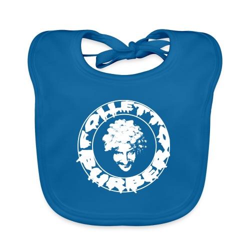 Logo bianco Folletto Burbero Metal - Bavaglino ecologico per neonato