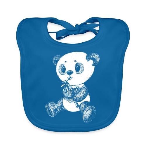Panda bjørn hvid scribblesirii - Baby økologisk hagesmæk