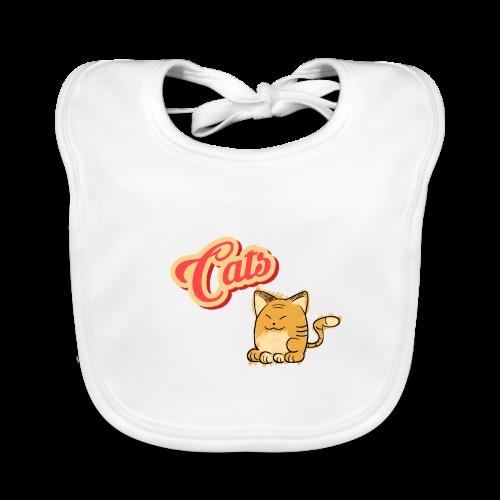 Katze   Katzen süß Schriftzug - Baby Bio-Lätzchen