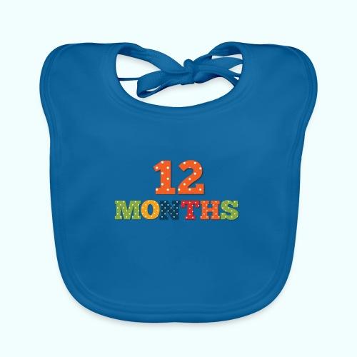 Twelve 12 months old baby print photography prop - Baby Organic Bib