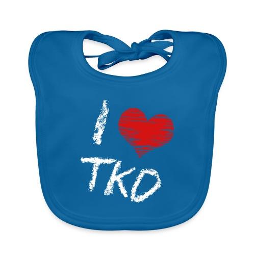I love tkd letras blancas - Babero de algodón orgánico para bebés