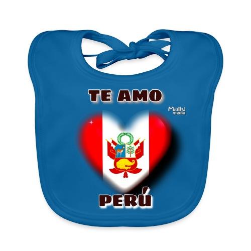 Te Amo Perú Corazón - Babero de algodón orgánico para bebés