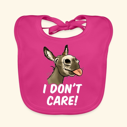 Ane I don't care! (texte blanc) - Bavoir bio Bébé