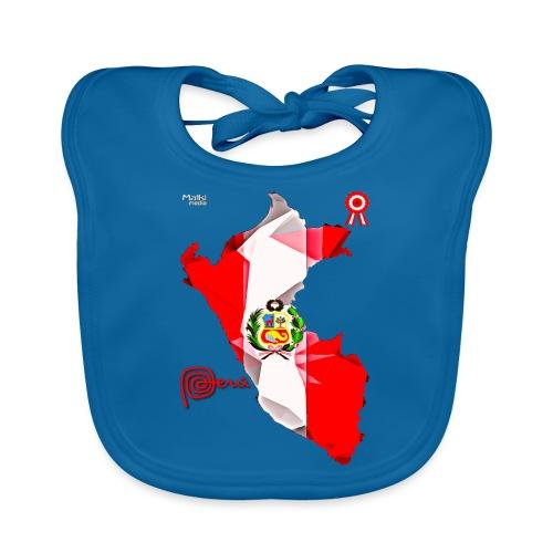 Mapa del Perú, Bandera y Escarapela - Babero de algodón orgánico para bebés